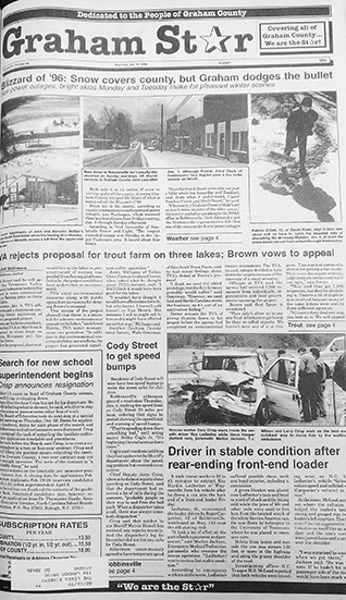 The Graham Star's front page from 25 years ago (Jan. 11, 1996).
