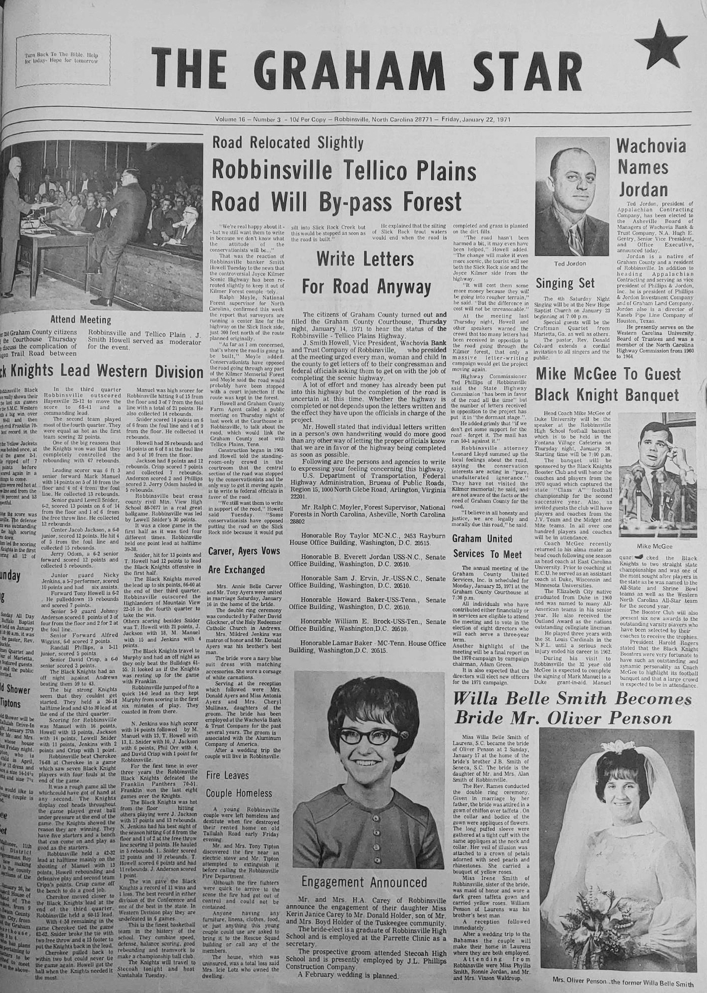 The Graham Star's front page from 50 years ago (Jan. 22, 1971)