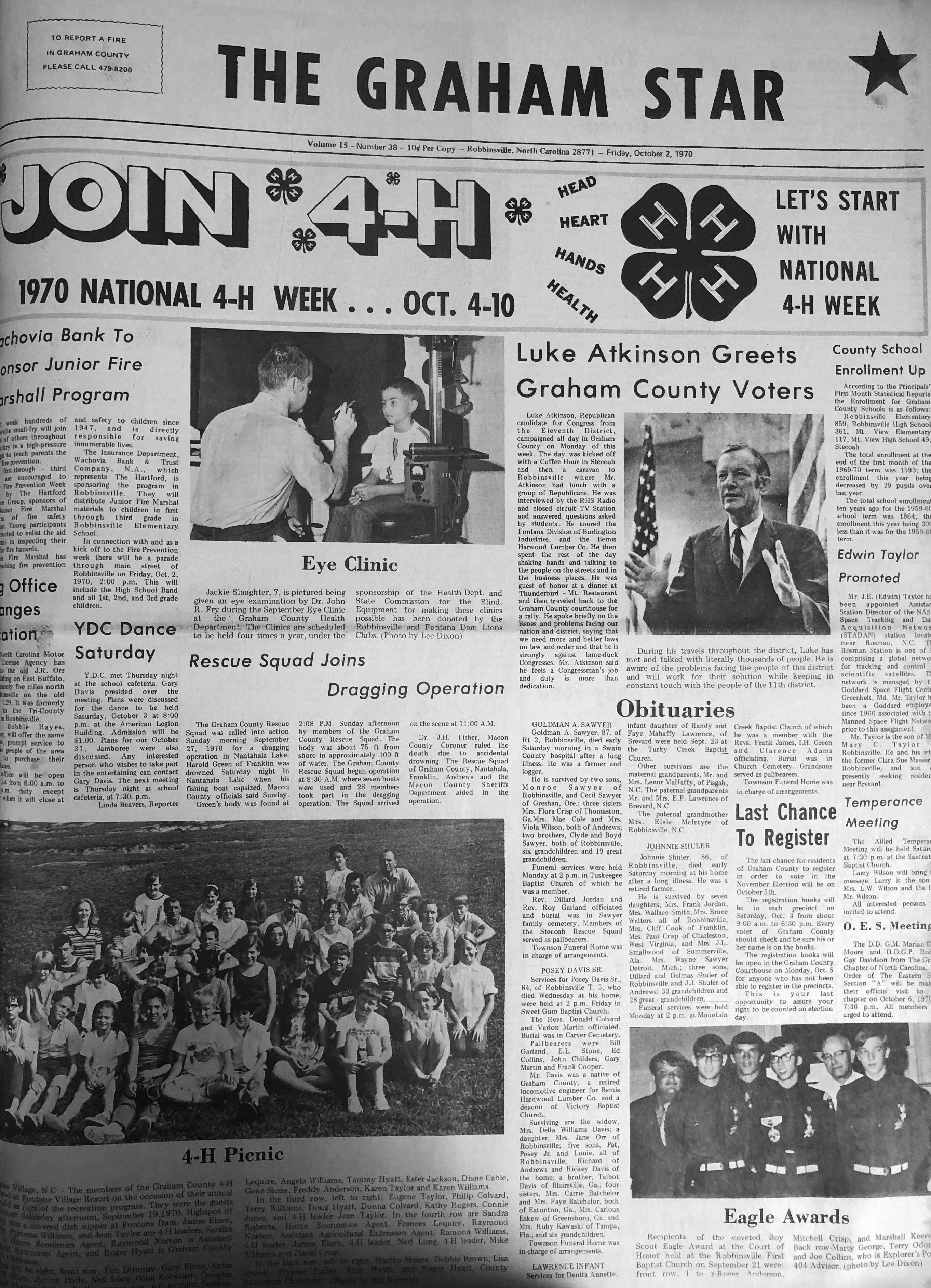 The Graham Star's front page from 50 years ago (Oct. 2, 1970).