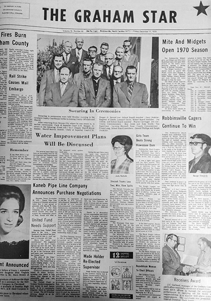 The Graham Star's front page from 50 years ago (Dec. 11, 1970).
