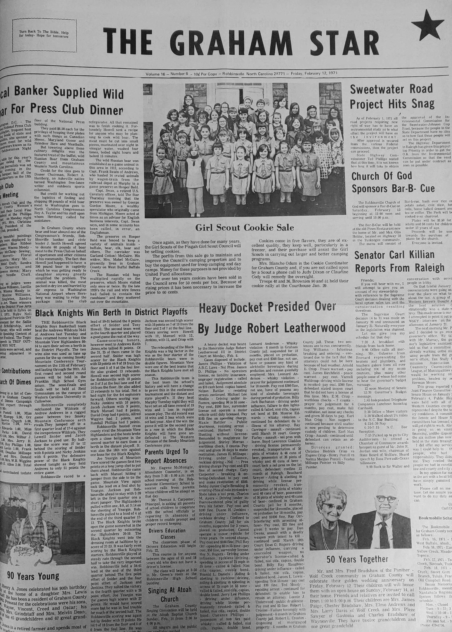 The Graham Star's front page from 50 years ago (Feb. 12, 1971).