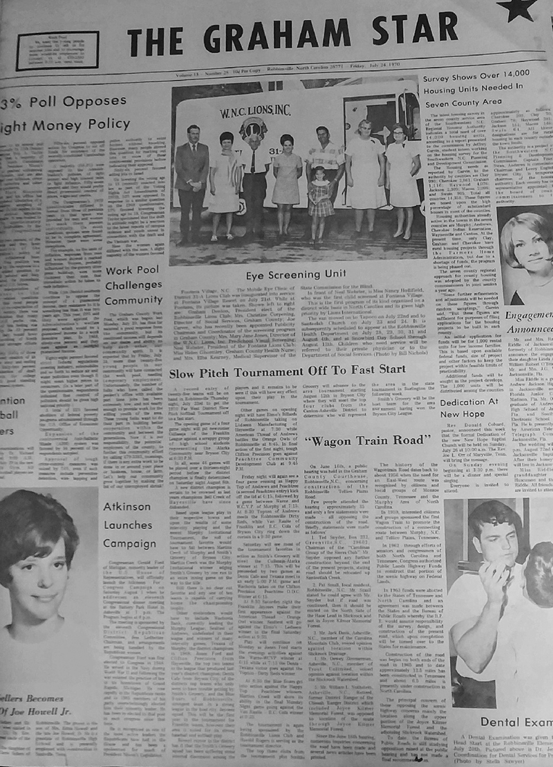 The Graham Star's front page from 50 years ago (July 24, 1970).