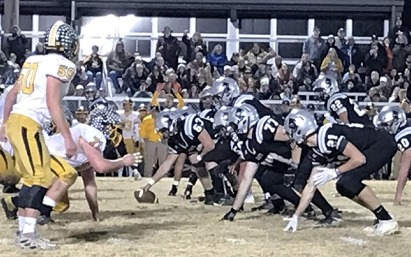 The Robbinsville Black Knights get set at the line of scrimmage during the second half of Friday's 24-13 third-round playoff win over Murphy. Photo by Kevin Hensley/editor@grahamstar.com