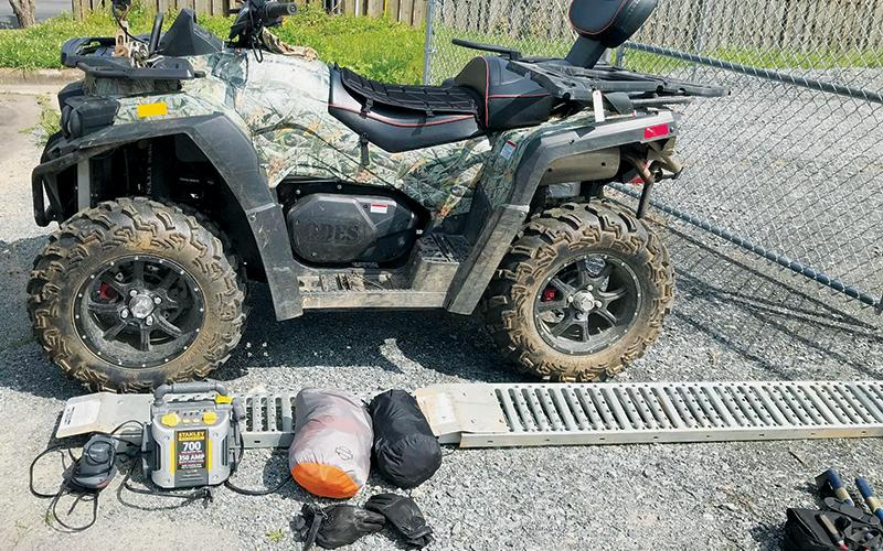 This 4-wheeler and other stolen items were recently recovered by the Graham County Sheriff's Office. A Tuskegee man has been charged for stealing the property. Photo courtesy of Graham County Sheriff's Office