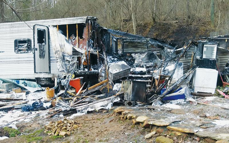 This was all that remained of a camper trailer destroyed in a fire on Gregory Hollow Road last week. No injuries were reported. Photo by Charlie Benton/news@grahamstar.com
