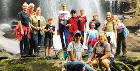 Members of the Graham County 4-H Club have had a busy summer, hiking to various waterfalls in the area, including Falls Branch on the Cherohala Skyway.