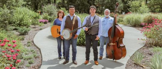 The Jones Brothers will be performing at the John C. Campbell Folk School in Brasstown on Friday, Sept. 27. Pictured from left are Betsy Blankenship, Johnathan and Joshua Jones, Larry Garrett.