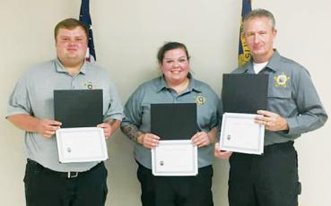 Detention officers Dakota Crisp, Jordan Rogers and Randy Price (from left) recently completed the North Carolina Detention Certification class at Southwestern Community College. Photo courtesy of Graham County Sheriff's Office