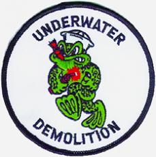 The shoulder/sleeve patch of the Naval Underwater Demolition Team, which served as a precursor to the present-day Navy SEALs.