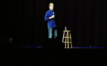 The setup for a Jeff Foxworthy performance in 2020 is very ordinary: a stool, a water bottle and a microphone. A simple set for a simple man. Photos by Kevin Hensley/editor@grahamstar.com