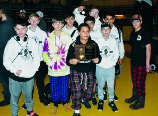 The Robbinsville Middle School Black Knights finished second at Saturday's Smoky Mountain Conference Tournament in Cherokee. From left are Ryelon Waldroup, Ethan Webster, Houston Ditmore, Dalton Hill, Isaac Picon, Juan Rios, Koleson Dooley, Mason Phillips, Anjelo Fierro and Whelon Sellers. Photos by Kevin Hensley/editor@grahamstar.com