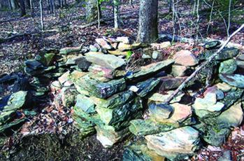 Part of the fireplace and chimney remain at the Whisenhunt homeplace on Frank's Creek. Photo by Marshall McClung/The Graham Star